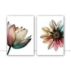 Conjunto de Quadros para Sala Multicolor Flower Vert por Juliana Bogo