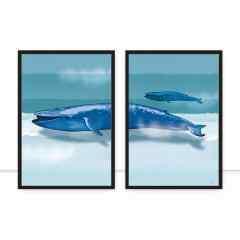 Conjunto de Quadros Blue Whale I e II por Joel Santos