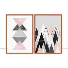 Conjunto de Quadros Geometria Rosa por Vitor Costa