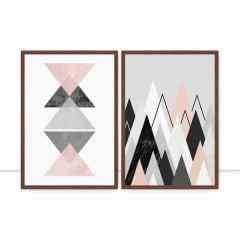 Composição de quadros Geometria Rosa por Vitor Costa