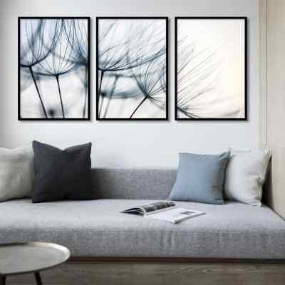 Conjunto de quadros Blue Dandelion Tríptico por Juliana Bogo