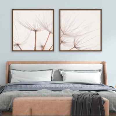 Conjunto de quadros Dandelion Díptico Sepia por Juliana Bogo