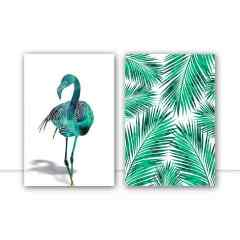 Conjunto de quadros - Flamingo Tropical