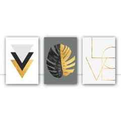 Conjunto de quadros Folha Dourada por Vitor Costa