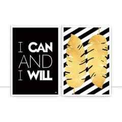 Conjunto de quadros - Folhas douradas e I can and I will