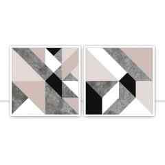 Conjunto de Quadros Geométricos Roseé por Juliana Bogo