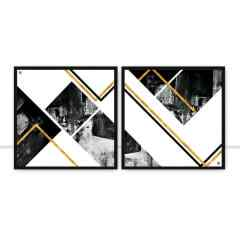 Conjunto de quadros Ilusion Abstract Gold por Joel Santos