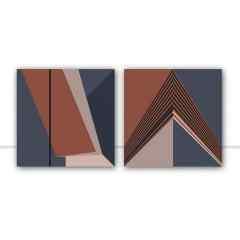 Conjunto de quadros Linhas Azuis por Juliana Bogo