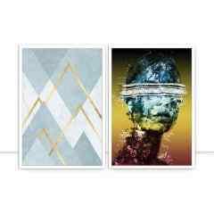 Conjunto de quadros - Montanhas Geométricas e Fragment Woman Colours