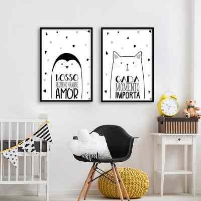 Conjunto de quadros Pinguim e Gato por Dot Dugeau