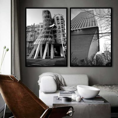 Conjunto de quadros - The Dancing House in Prague e Seattle 2