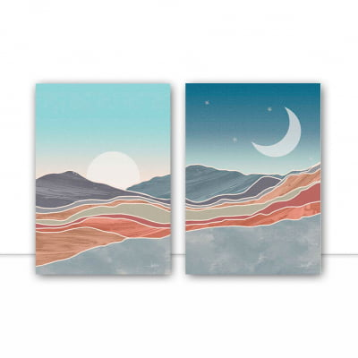 Conjunto de Quadros Diptico Day Night I e II por Joel Santos