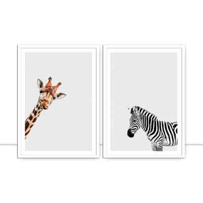 Conjunto de Quadros Girafa e Zebra por Juliana Bogo